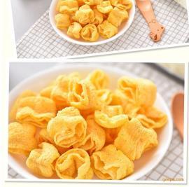 龟壳型玉米四层酥脆片多种口味油炸型玉米片双螺杆挤压膨化机械