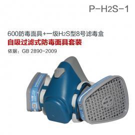 硫化氢气体防毒面具套装600半面罩+H2S型8号滤毒盒