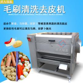 中型果蔬瓜果清洗去皮机毛刷机