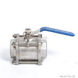 Q11F不锈钢工业球阀 手动直通常压焊接阀 常温丝扣三片式球阀