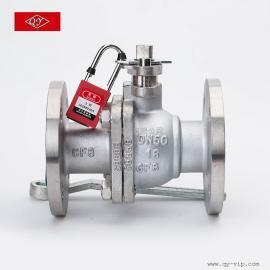 FQ41F不锈钢阀门 不锈钢法兰式防盗 锁位 锁扣球带开位置锁球阀