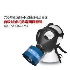 硫化氢活性炭防毒面具700全面罩+HG-ABS/P-H2S-3滤毒罐