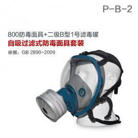 防毒面具800全面罩+HG-LV/P-B-2滤毒罐