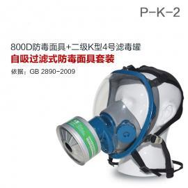 氨气全面罩防毒面具800D全面罩+HG-LV/P-K-2滤毒罐