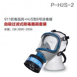 硫化氢活性炭防毒面具911全面罩+HG-ABS/P-H2S-2滤毒罐