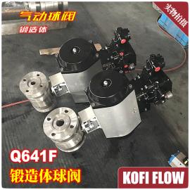 Q641F-16/25/40-64/100C气动锻钢球阀 A105法兰 二片式锻造球阀