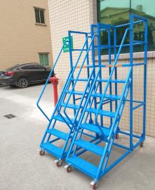 单面拣货梯 轻型高位取货车 工业踏步梯 带�x车踏步梯