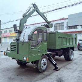 农用四不像自卸运输车 四驱随车挖掘机一体车