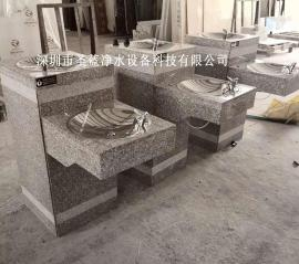 不锈钢公共户外直饮水机大理石直饮水台单盆双盆按压饮水台