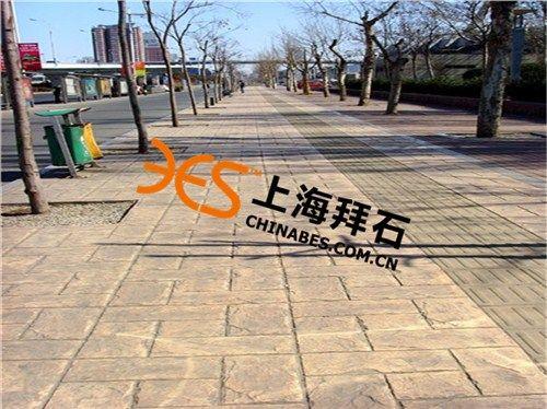 宜兴彩色路面压膜地坪工程施工,材料厂家,拜石供