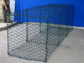 包胶石笼网,裹胶铁丝网石笼,镀锌铁丝过胶装石头网笼