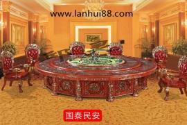 酒店专用智能餐桌红木手工雕花