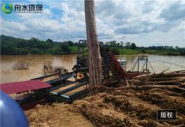 舟水河道淘金船的���� 河道�x心式淘金船 �@石��石提取�O��