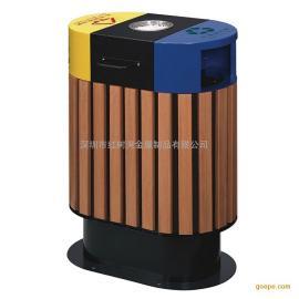 红树湾防腐木塑木实木户外分类垃圾桶垃圾箱