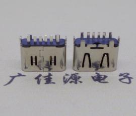 USB Type-C板端6P母座 直立插充电C型接口 H=6.25尺寸
