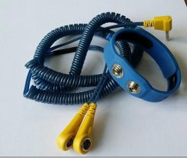 硅胶双回路手腕带蓝色线 双回路防静电手腕带