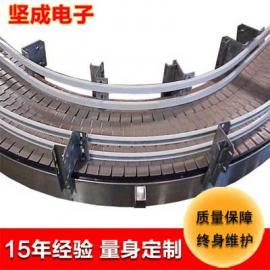 流水线工厂坚成电子不锈钢链板式输送机BLN22转弯链板输送带