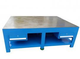 工厂重型钢板水磨桌面钳工模具工作台装配维修飞模台虎钳五金台