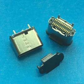 立式贴片USB type-c母座 24P 双排贴片SMT 180度贴板 四脚DIP