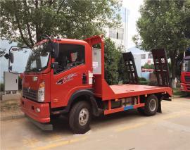 重汽豪沃单桥平板运输车拉80挖机拖车