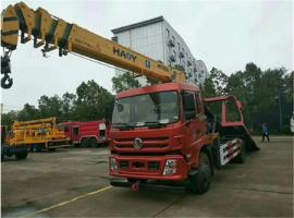 东风特商平板带吊清障车,背10吨拖10吨配5-8吨吊机