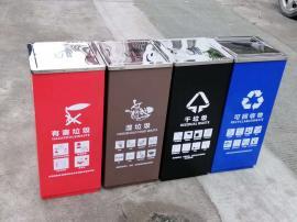 商场大楼四分类金属垃圾桶-美食广场分类果皮箱-园林户外分类垃圾
