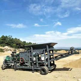 大型移动式破碎机流动式制砂机鹅卵石煤矸石建筑垃圾石头粉碎机