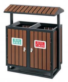 园林景区分类垃圾桶-高档户外果壳箱-钢木果皮箱定制
