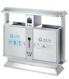 不锈钢分类桶加工定制-公交站台分类果皮箱-金属分类垃圾桶