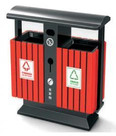 园林户外果皮箱-金属分类垃圾桶-户外钢木果皮箱