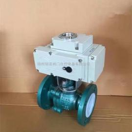 瑞诺Q941F4-16C DN50衬氟防腐铸钢软密封电动球阀