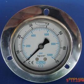轴向带边充油耐震压力表,抗震压力表