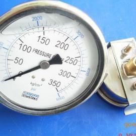 轴向带支架充油耐震压力表,抗震压力表