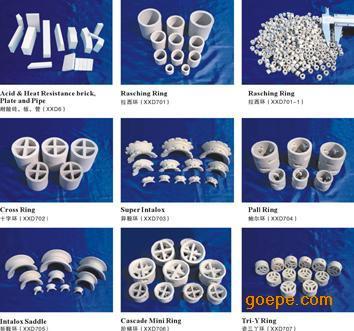 陶瓷散堆填料-鲍尔环、阶梯环、矩鞍环、异鞍环、拉西环、十字环