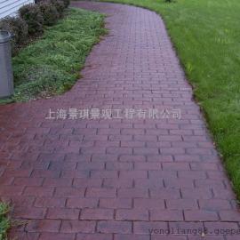 仿砖压花路面 室内压花地坪 仿古青石板压花混凝土