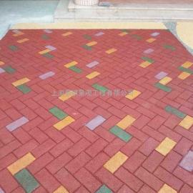 彩色压模透水砖地坪