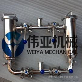 卫生级双联GD管道过滤器,304双联过滤器,快装管道过滤器