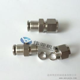 不锈钢卡套式快插直通接头 一边连接气源软管一边连接不锈钢管