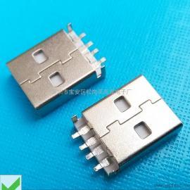 (USB连接器+AM短体焊线) 黑胶带脚USB公头+长焊盘