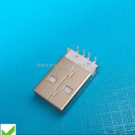 USB沉板公头 短体式下沉1.5MM插脚DIP针~有柱