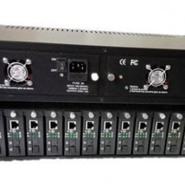 光纤收发器机框HY-2U/14C 双电源冗余备份双风扇散热