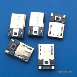 前五后二MICRO公头10.5mm短体焊线式超薄3.0短路