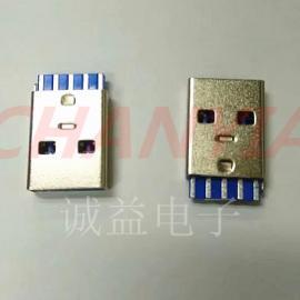 USB3.0公头AF焊线式9P双面四五焊脚排列