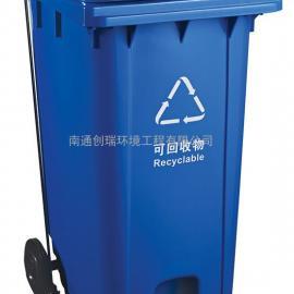 新吴120L塑料脚踩垃圾桶-新吴120升加厚挂车塑料垃圾桶