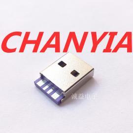 A公大电流5V5A华为款紫色胶芯USB公头AM焊线式