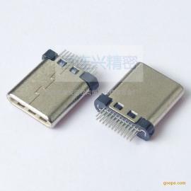 Type-C 24P短体公头 夹板1.0 超薄2.7mm 短体外露7.7 长针短针