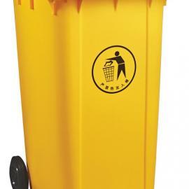 120L带轮可推式垃圾桶-120L带轮可推盖式塑料垃圾桶