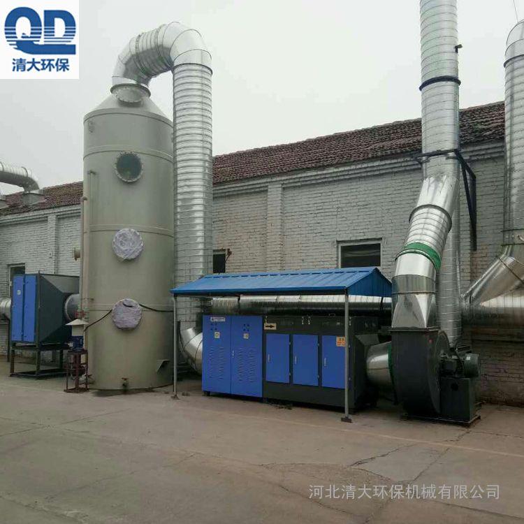 清大环保水喷淋净化器 PP材质气旋塔净化设备水洗塔原理讲习QD-PL-10000