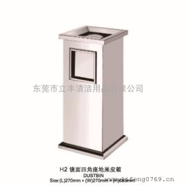 LF-H2镜面四角座地果皮箱 不锈钢垃圾桶 长安室内垃圾桶