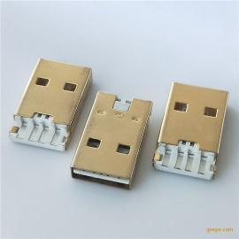 USB2.0 双面插 AM焊线式 正反插 公头短体L=19.1mm白胶 铁壳